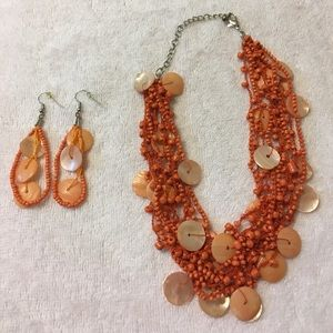 Jewelry - Orange beaded necklace and earrings set
